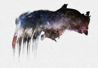 Cosmic Space Starry Brush Drawn Stroke Shape Art Poster Background