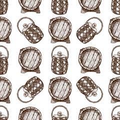 Wooden barrel vintage old hand drawn sketch storage seamless pattern fermenting distillery cargo drum lager vector illustration.