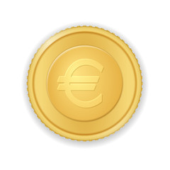 Gold coin with euro symbol