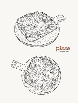 Pizza on the wooden board hand draw sketch vector.