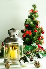 Christmas lamp on white