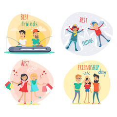 Set of Best Friends and Friendship Day Flat Design