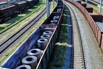 train wagons on the railway