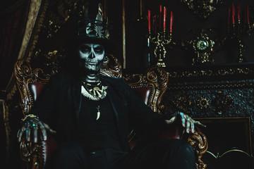 skeleton man in a castle