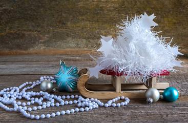 Christmas tree gift boxes and sleigh