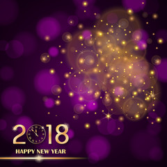 Golden lights abstract on purple ambient blurred background. New Year 2018 concept. Luxury design. Vector illustration
