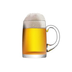 A glass mug with beer isolated on a white background.