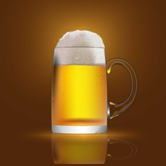 A glass mug with beer and foam. Banner, cover, advertising.