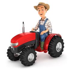 3d farmer driving tractor