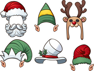 Cartoon Christmas hats. Vector clip art illustration with simple gradients. Each item on a separate layer.
