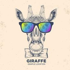 Hipster animal giraffe. Hand drawing Muzzle of giraffe