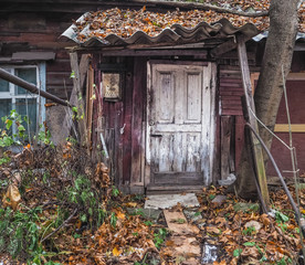 Very old abandoned wooden house.