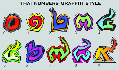 Thai numbers in graffiti style from 0 to 9 in colors.