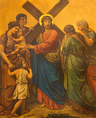 LONDON, GREAT BRITAIN - SEPTEMBER 17, 2017: The painting Jesus meets the women of Jerusalem as the Station of the Cross in church of St. James Spanish Place by M. Jacob (1873).
