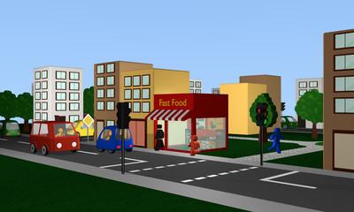 belebte Straße mit Fast Food Imbiss, Häusern, Autos und Fussgängern