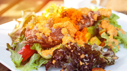 Fried crab seafood salad asian style dressing