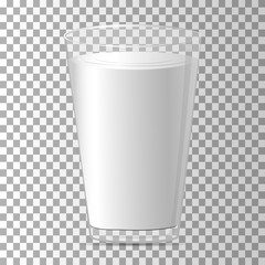 Milk in a glass. Full glass with beverage. Vector.