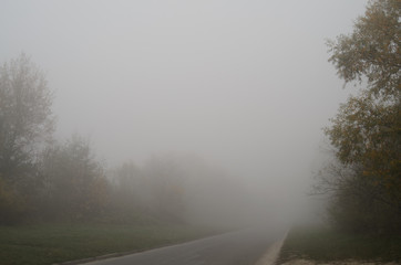 Aluminium Prints Dark grey Road in the fog