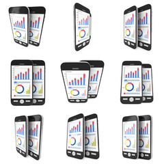 Small Data on Smartphone Set. Phones with bar graph charts and pie diagram. 3d render isolated on white.