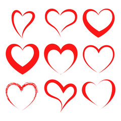 Vector hearts set. Hearts icons. Vector illustration