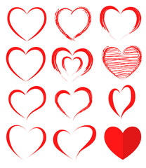 Vector hearts set. Hearts icons. Vector illustration
