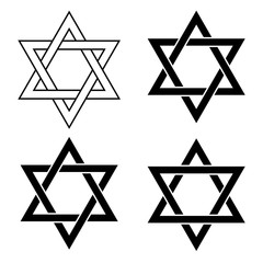 Star of David set icons. Vector illustration