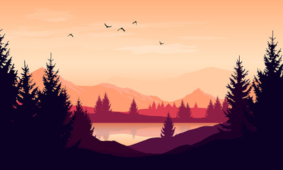 Vector cartoon sunset landscape with orange sky, silhouettes of mountains, hills and trees and lake