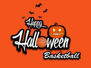 Banner happy halloween and basketball ball