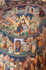 Orthodox icons the Saint Ana-Rohia Monastery. The monastery is situated in a natural place on the hillside of a hill. It was built in 1926
