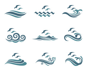 collection of ocean logo with waves and seagulls