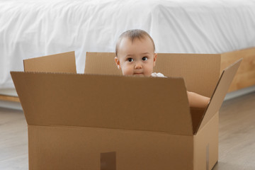 Cute baby sitting in delivery box