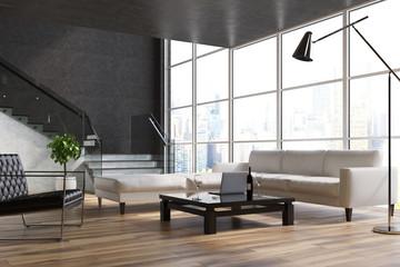 Black living room, stairs, sofas