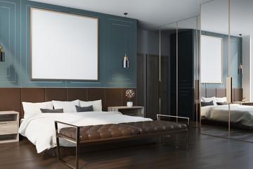 Blue bedroom interior, poster side