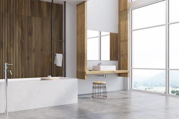 Gray and wooden bathroom, tub corner
