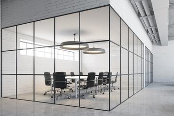 White brick meeting room corner
