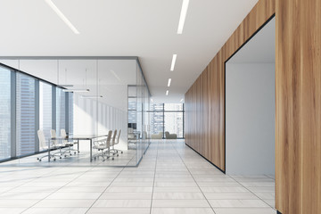 White and wooden office meeting room, armchairs