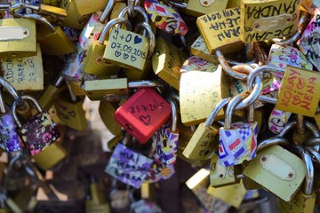 many love padlock on bridge symbol of eternity love