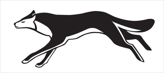 Black and white silhouette of running dog. Vector isolated. Stylized image.