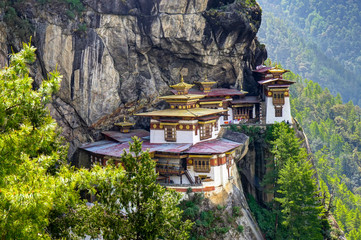 View to Famous Tigers Nest Temple in Bhutan
