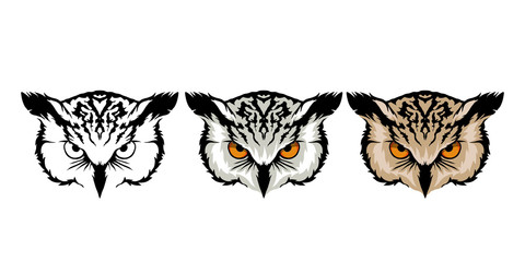 color set of owl heads on white background.