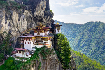 Wall Murals Place of worship View to Famous Tigers Nest Temple in Bhutan