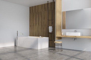 Gray and wooden bathroom, tub side