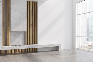 Concrete and wood living room, fireplace side
