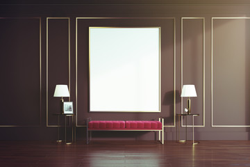 Black and gold living room, red bench toned