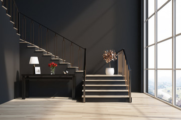 Black living room, stairs, table