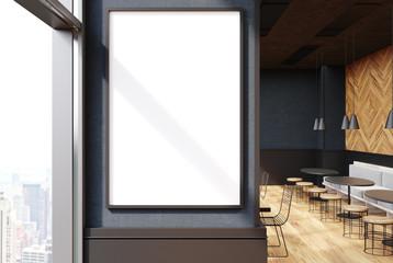 Gray cafe interior, poster close up