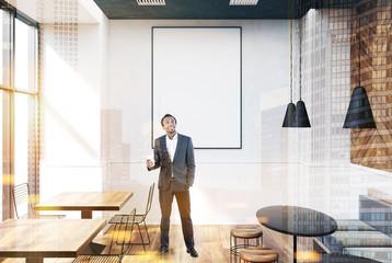 Gray cafe interior, poster, businessman