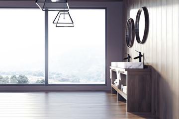 Loft bathroom, wooden walls, a sink