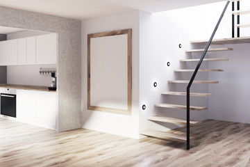 Gray, wooden kitchen, stairs, poster, corner