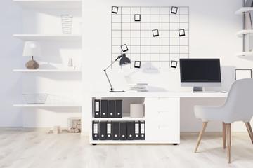 White home office interior, computer
